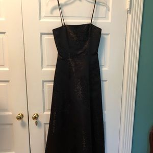 Black Strappy Beaded Formal Gown. Floor Length.
